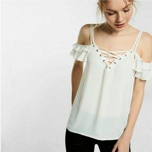 Express lace up cold shoulder cami